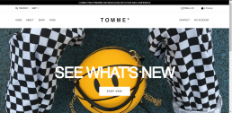 Shopify web design for Tomme Clothing
