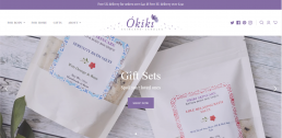 Shopify web design for Okiki Skincare